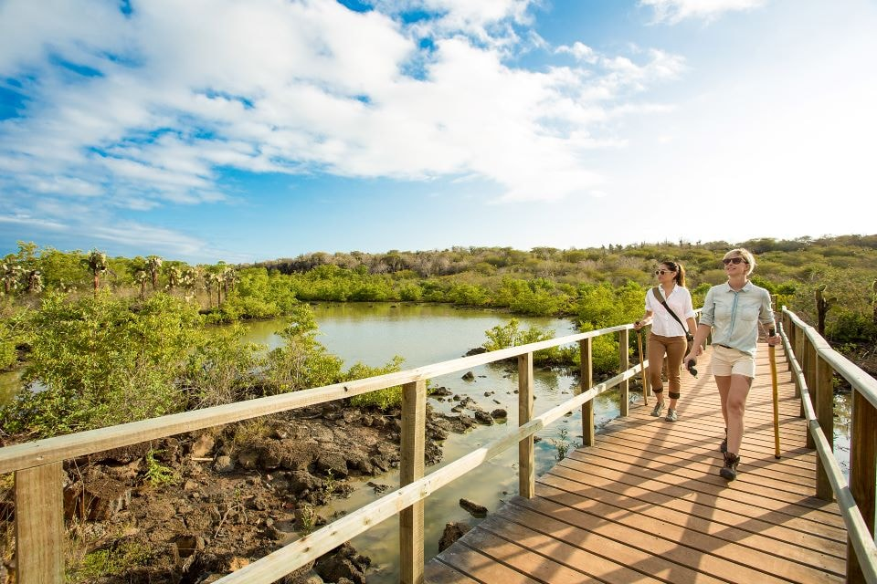 Guests walking around the Finch Bay Galapagos Hotel.