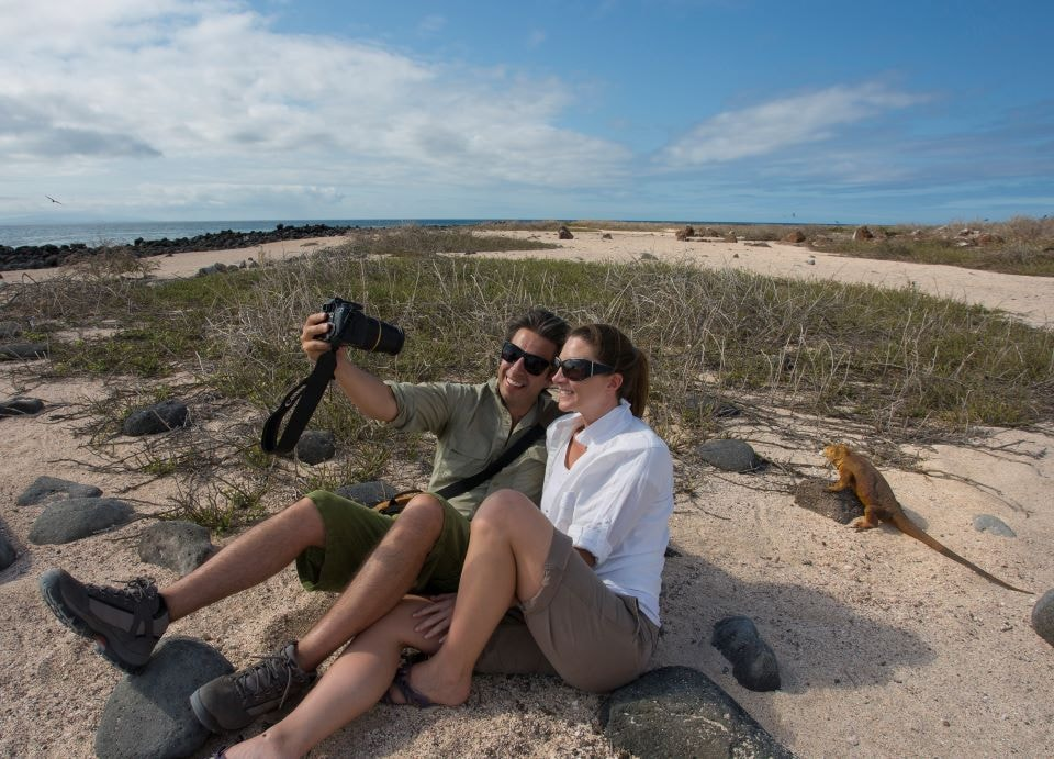 Finch Bay Hotel's guests on a land expedition on the Galapagos Islands.