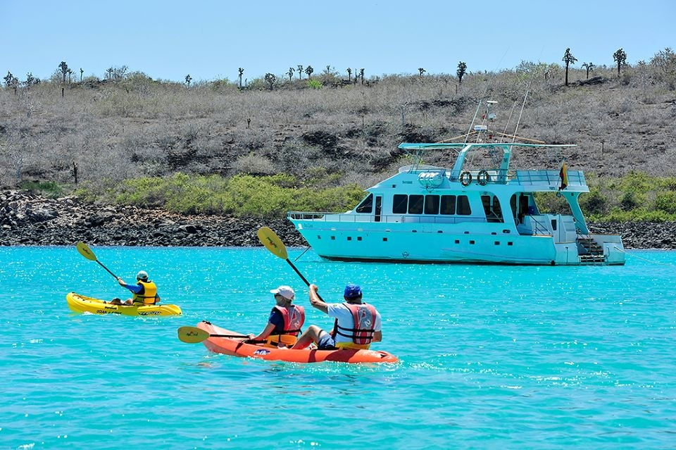 Finch Bay Hotel guests in the Sea Lion and kayaking expeditions.