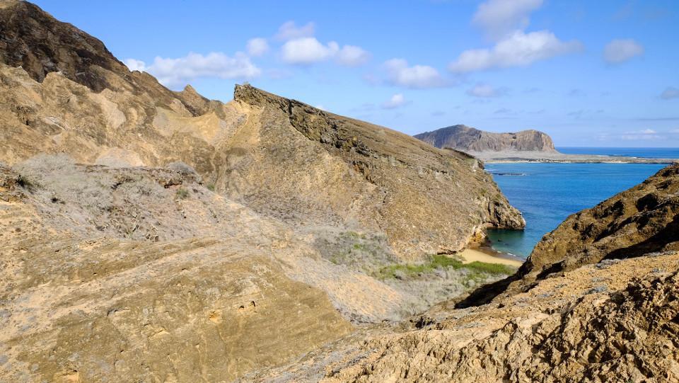 Galapagos Islands' Punta Pitt landscape view.
