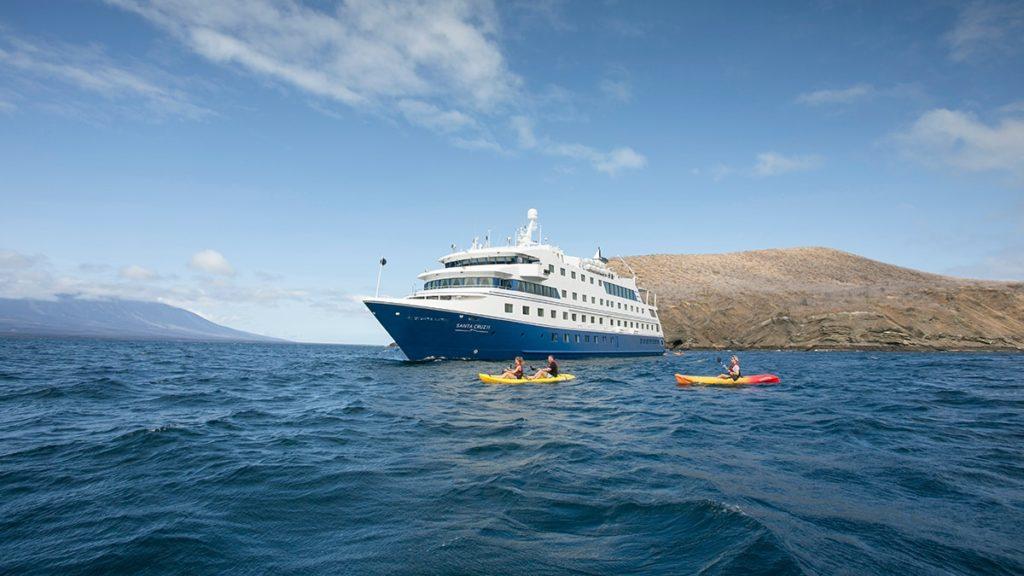 Guestas kayaking in the Galapagos Islands in Santa Cruz II cruise itinerary.