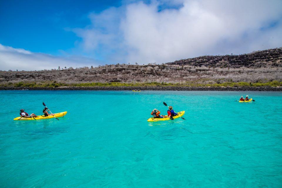Guests kayaking in Santa Fe Island in Galapagos.