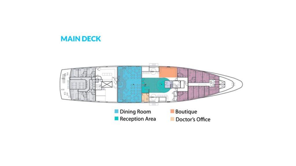 Yacht La Pinta's main deck.