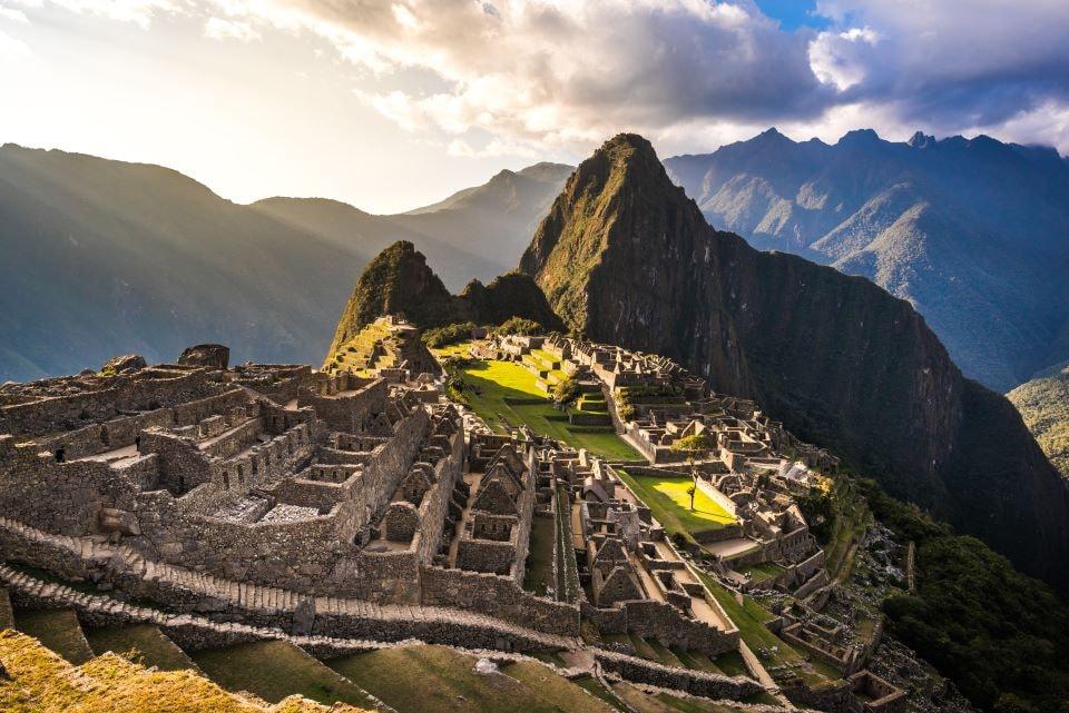 Machu Picchu view at sunset.