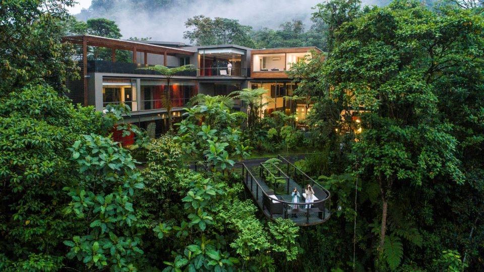 The view of Mashpi Lodge hotel in Ecuador.