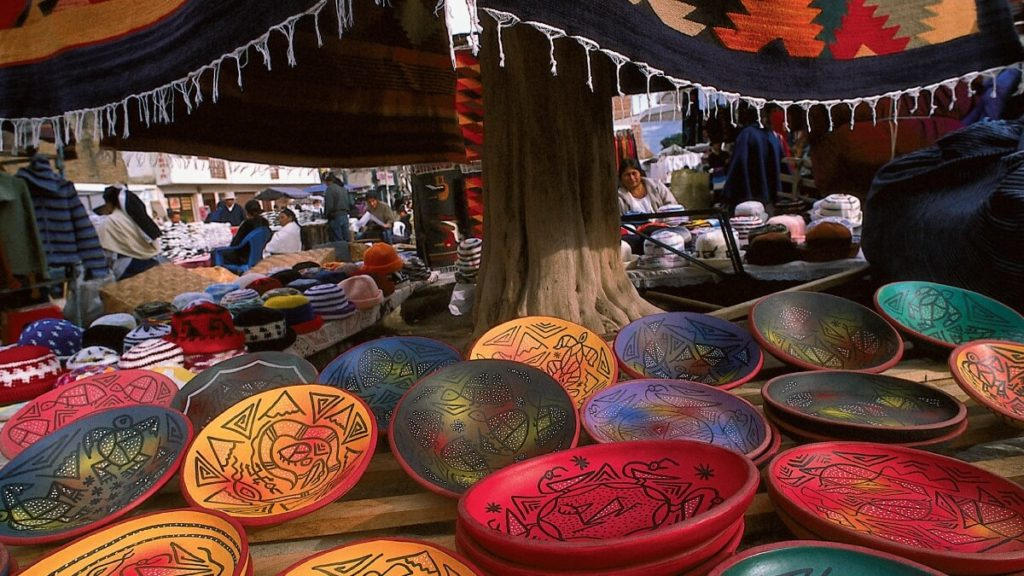 Hand painted plates or bowls in the Otavalo Market.