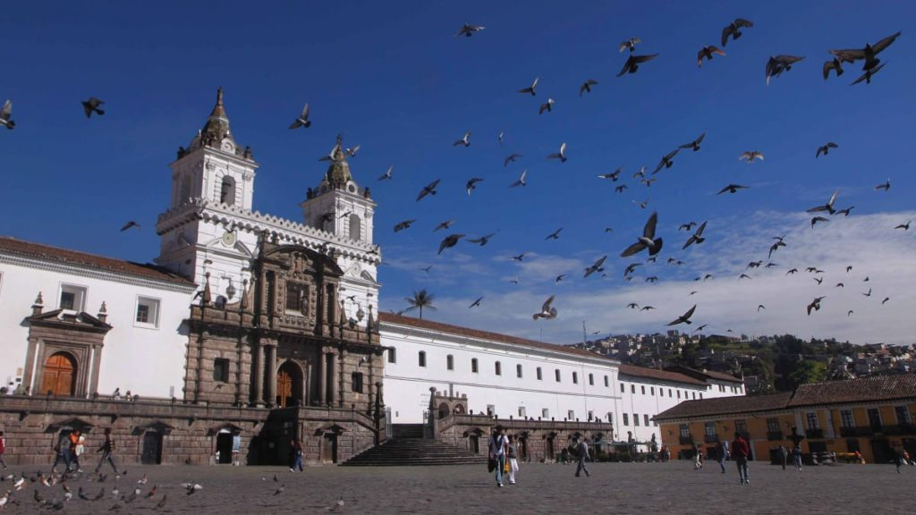 Plaza San Francisco in old town Quito.