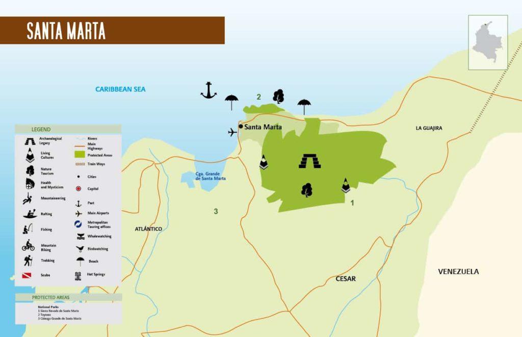 Colombia's Santa Marta map.