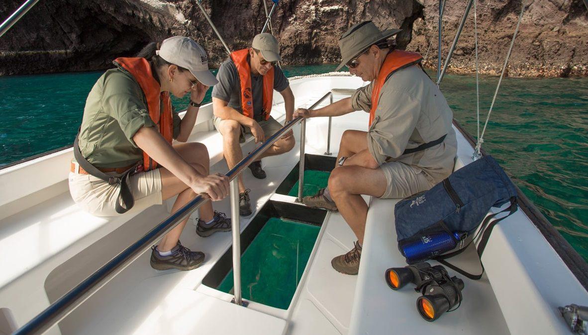 Glass-bottom boat.