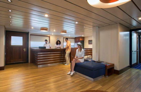 The reception area in Santa Cruz II Galapagos cruise.