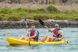 Kayaking close to the coastline in the Galapagos