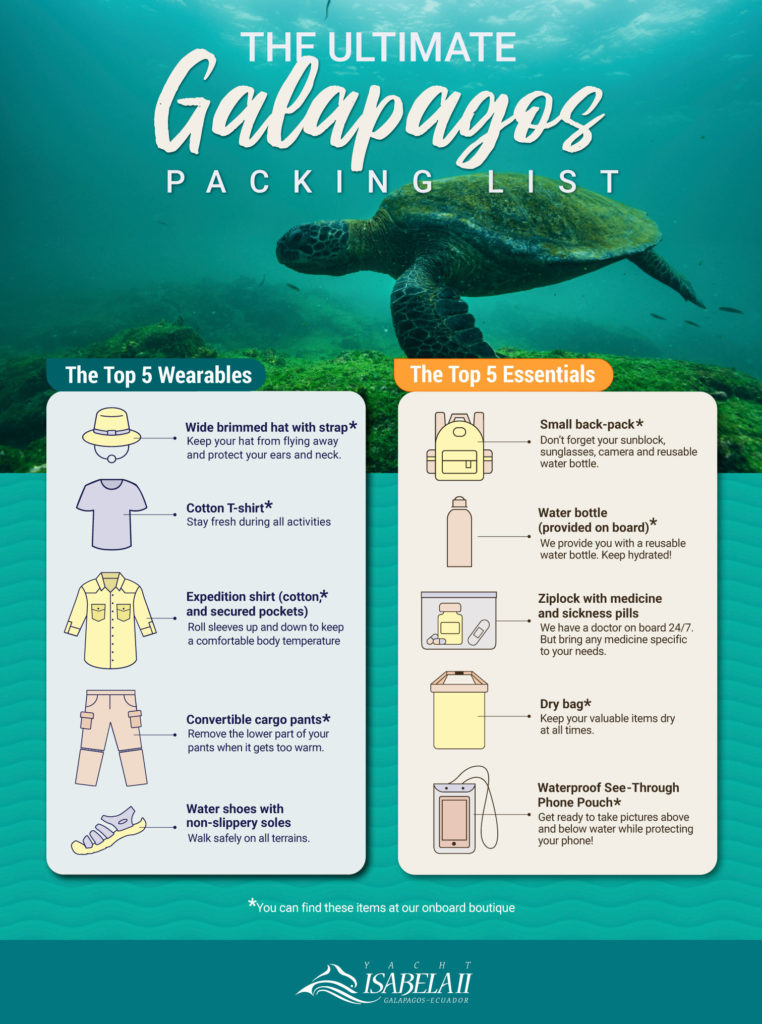 how to pack for a galapagos yacht isabela
