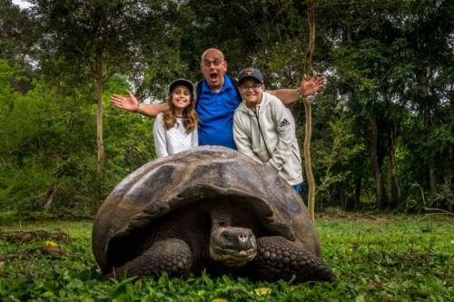 Giant tortoise with a family in the Galapagos Islands