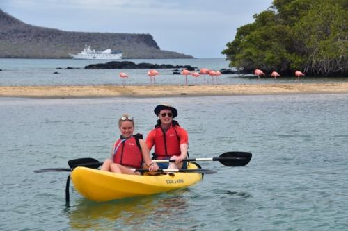 Kayaking in the Galapagos with flamingos